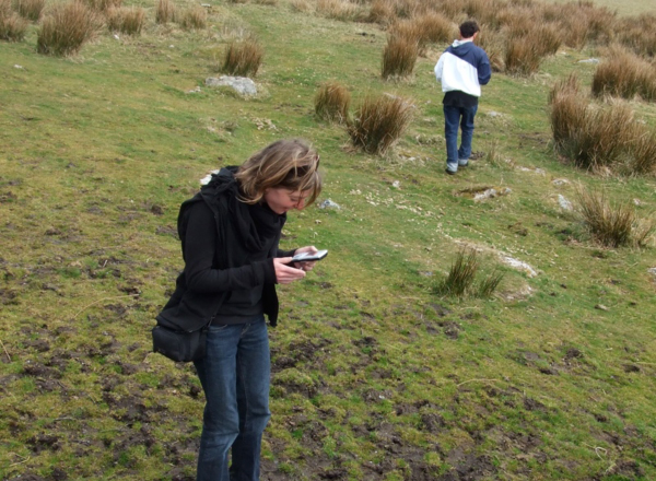 Students using GPS devices during the Outside/Inside workshop on Dartmoor